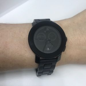 Movado Bold Black Dial & Dot Watch (Unisex)